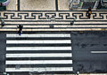 Birds view to a crosswalk in the old part of Lisbon, portugal Royalty Free Stock Photo