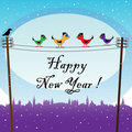 Birds waiting the New Year Stock Images