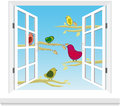 Birds in the window vector this is file of eps format Stock Photos