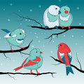 Birds on wintry landscape cute little Royalty Free Stock Photography