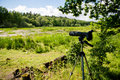 Birdwatching photo of the equipment used in hobbies it s standing in the wilderness in sweden Royalty Free Stock Image