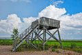 Birdwatching tower the wooden against rainstorm sky Stock Photography