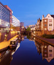 Birmingham canal junction near brindley place and next to the sealife center and national indoor arena Royalty Free Stock Photography