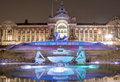 Birmingham Town Hall and water fountain at night Royalty Free Stock Photo