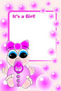 Birth Card - Baby Girl Royalty Free Stock Photo