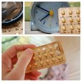 Birth-control pill with hand and clock Royalty Free Stock Photography