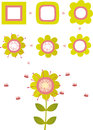 Birth of flower vector illustration playing with shapes Royalty Free Stock Photography