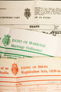 Birth, marriage and death certificates Royalty Free Stock Photo