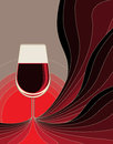 Birth of red wine dynamic conceptual illustration the with flowing lines in shades fusing to form the stem a glass Stock Image