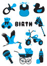 Birth a two tone silhouette of babies stuff Stock Images