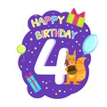 Birthday Anniversary Number and Cute Ethnic Patterned Squirrel Animal, Card Template for Four Year Old Vector