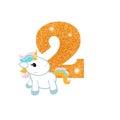 Birthday anniversary number with cute unicorn