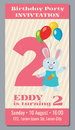 Birthday anniversary party invitation card with cute rabbit vector template 2 years old Royalty Free Stock Photo