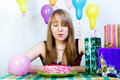 Birthday. An attractive young girl Royalty Free Stock Photography