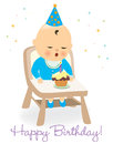 Birthday baby boy illustration of a blowing candle Stock Photos