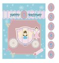 Birthday baby card princess greeting with coach and fairy Stock Photo