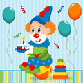 Birthday baby clown vector illustration Royalty Free Stock Photo