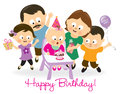 Birthday baby girl and family illustration of a blowing candle cheering her up Stock Photo