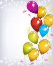 Birthday background a balloon with colorful balloons on a light backdrop Royalty Free Stock Images