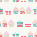Birthday background with cupcakes and gifts in a repeat seamless pattern ornamental presents in boxes bows Stock Photos