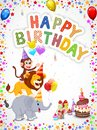 Birthday background with happy animals cartoon