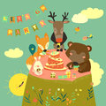 Birthday background with happy animals