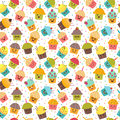 Birthday background. Kawaii cupcakes. Seamless pattern