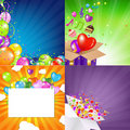 Birthday Backgrounds Set With Sunburst Stock Photos
