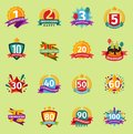 Happy Birthday anniversary vector numbers badge banner design flat background set. Birthday card invintation icons Royalty Free Stock Photo