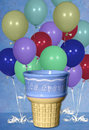 Birthday Balloon Ice Cream Cone Digital Background Stock Photo