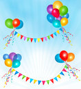 Birthday balloons frame composition Royalty Free Stock Image
