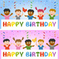 Birthday Banner with Kids Royalty Free Stock Photography