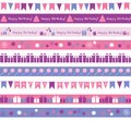 Birthday borders set of different for party or greetings Royalty Free Stock Images
