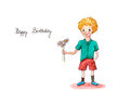 Birthday boy watercolor greeting card painting with handwritten text happy Royalty Free Stock Photos
