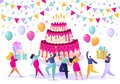 Birthday concept. People carry gifts, blow their whistles, dance and celebrate the holiday around big, bright, tasty cake with can
