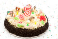 Birthday cake 5 years Stock Images