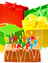 Birthday cake with burning candles and gifts happy to you card concept Royalty Free Stock Photography