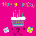 Birthday Cake with Candles. Can be used for Greeting card, invitation