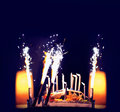 Birthday cake and candles closeup Royalty Free Stock Photo