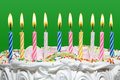 Birthday cake with candles colorful on the green background Stock Photography