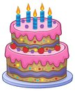 Birthday cake with 5 candles Royalty Free Stock Photo