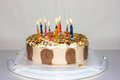 Birthday cake. candles happy birthday bakery product Royalty Free Stock Photo