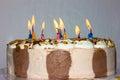 Birthday cake. candles happy birthday bakery product Royalty Free Stock Photo