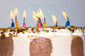 Birthday cake. candles happy birthday congratulation Royalty Free Stock Photo