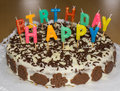 Birthday cake with candles. Happy Birthday food object Royalty Free Stock Photo
