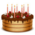 Birthday cake with candles isolated on white background illustration Stock Photography