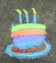 Birthday Cake in chalk Stock Image