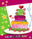 Birthday cake children postcard day of birth background illustrations Stock Photography