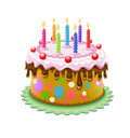 Birthday cake chocolate creme burning candles isolated white background eps vector illustration Royalty Free Stock Photo
