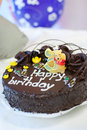 Birthday cake cocolate close up Royalty Free Stock Images